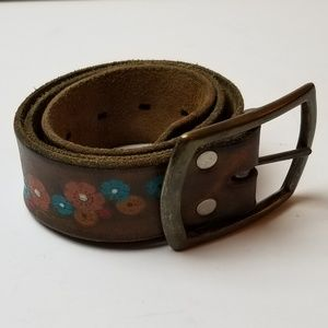 Flowered Leather Belt